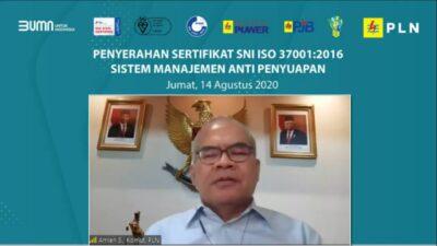 Keterangan: Komisaris Utama PLN, Amien Sunaryadi saat menyampaikan sambutan pada acara penyerahan sertifikat Sistem Manajemen Anti Penyuapan (SMAP) SNI ISO 37001:2016.